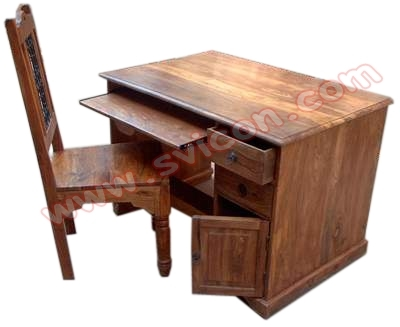 WOODEN COMPUTER TABLE WITH CHAIR