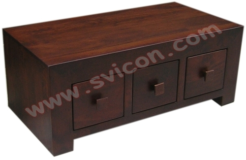WOODEN COFFEE TABLE 6 DRAWER