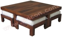 WOODEN SQUARE COFFEE TABLE SET