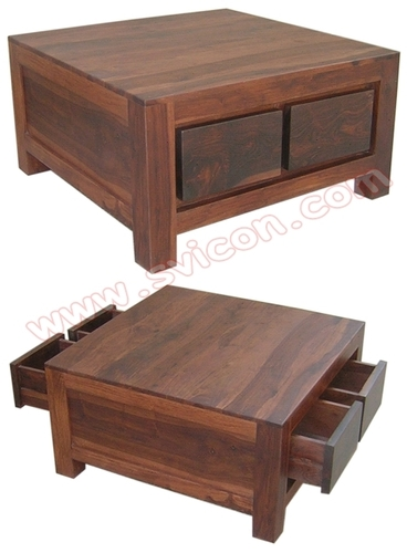 WOODEN COFFEE TABLE 4 DRAWER