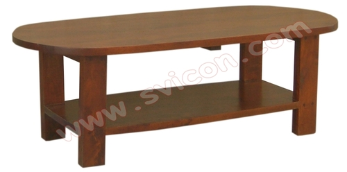 WOODEN OVAL COFFEE TABLE WITH SHELF