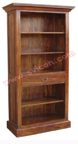 WOODEN BOOK SHELF 1 DRAWER