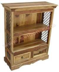 WOODEN BOOK SHELF 2 DRAWER