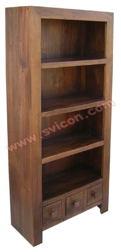 WOODEN BOOK SHELF 3 DRAWER