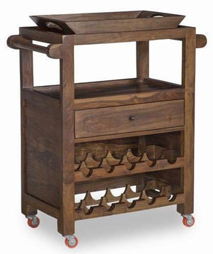Wooden Bar Trolley with Tray