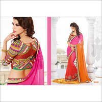 MULTI ORANGE SHADED GAMTHI DESIGN SAREE