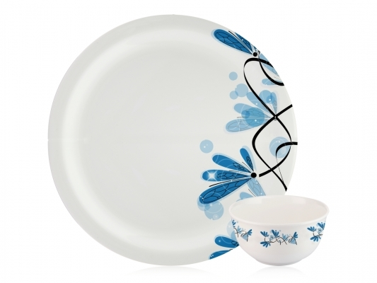 Dinner Set Milano (Blue Flower - 22 Pcs)