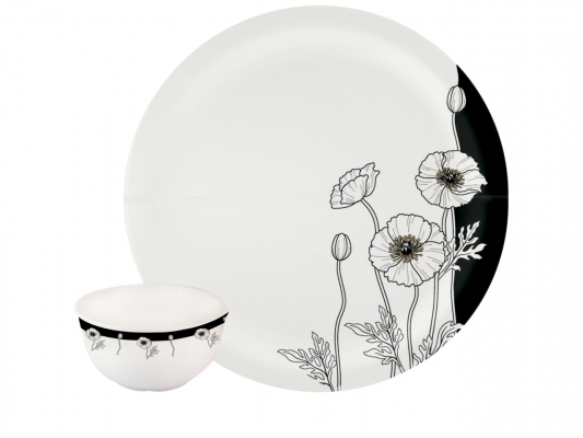 Dinner Set Milano (Black Buds - 22 Pcs)