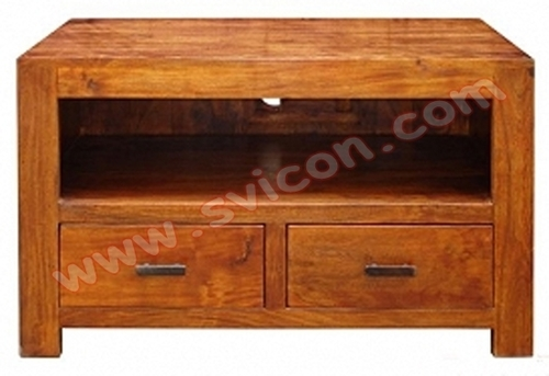 WOODEN TV/DVD UNIT 2 DRAWER