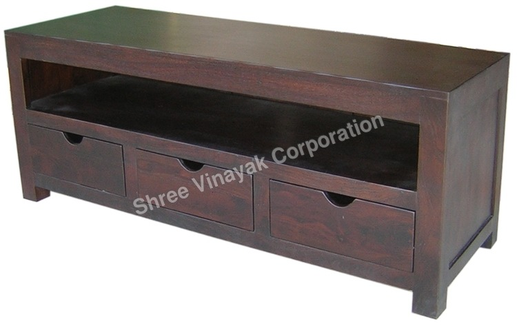 WOODEN TV/DVD UNIT 3 DRAWER