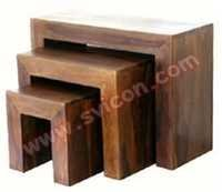 WOODEN COFFEE TABLE SET OF 3