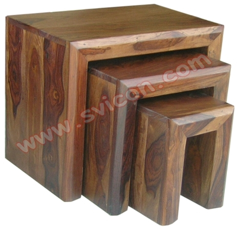 WOODEN NEST OF TABLES S/3