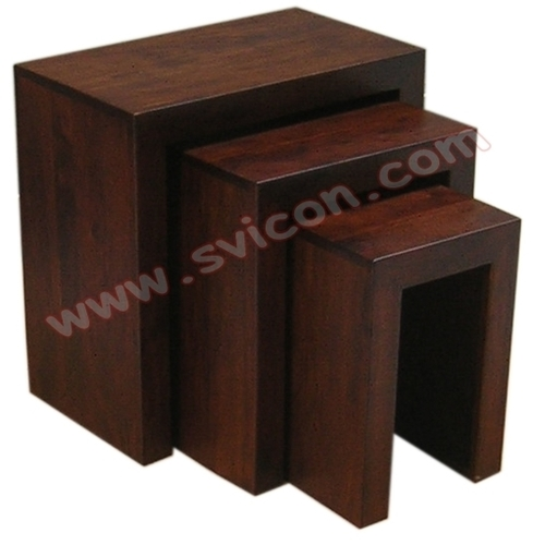 WOODEN NEST OF TABLE S/3
