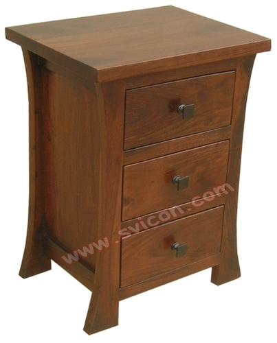 CURVE WOODEN BEDSIDE 3 DRAWER