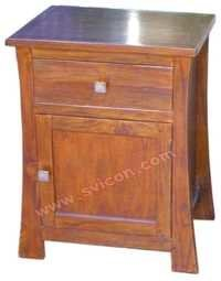 WOODEN BEDSIDE 1 DRAWER 1 DOOR