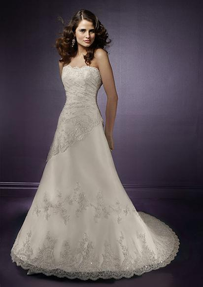 Silk Bridal Gown With Hand Embroidery