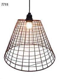 Rustic Metal Wire Basket Lamp