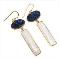Rainbow Moonstone & Blue Druzy gemstone Earring