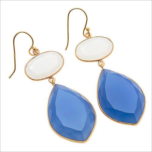 Blue Chalcedony & milky Chalcedony Gemstone Earring