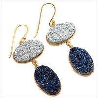 Titanium Blue & Silver Druzy Gemstone Earring