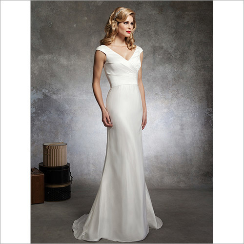 V-Neck Silk Dupioni Fitted Trumpet Bridal Gown