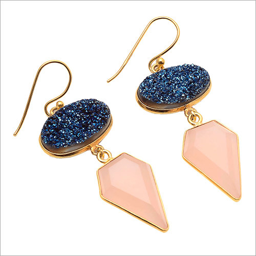 Peach Chalcedony & Blue Druzy Gemstone Earring