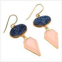Pink Chalcedony & Blue Druzy Gemstone Earring