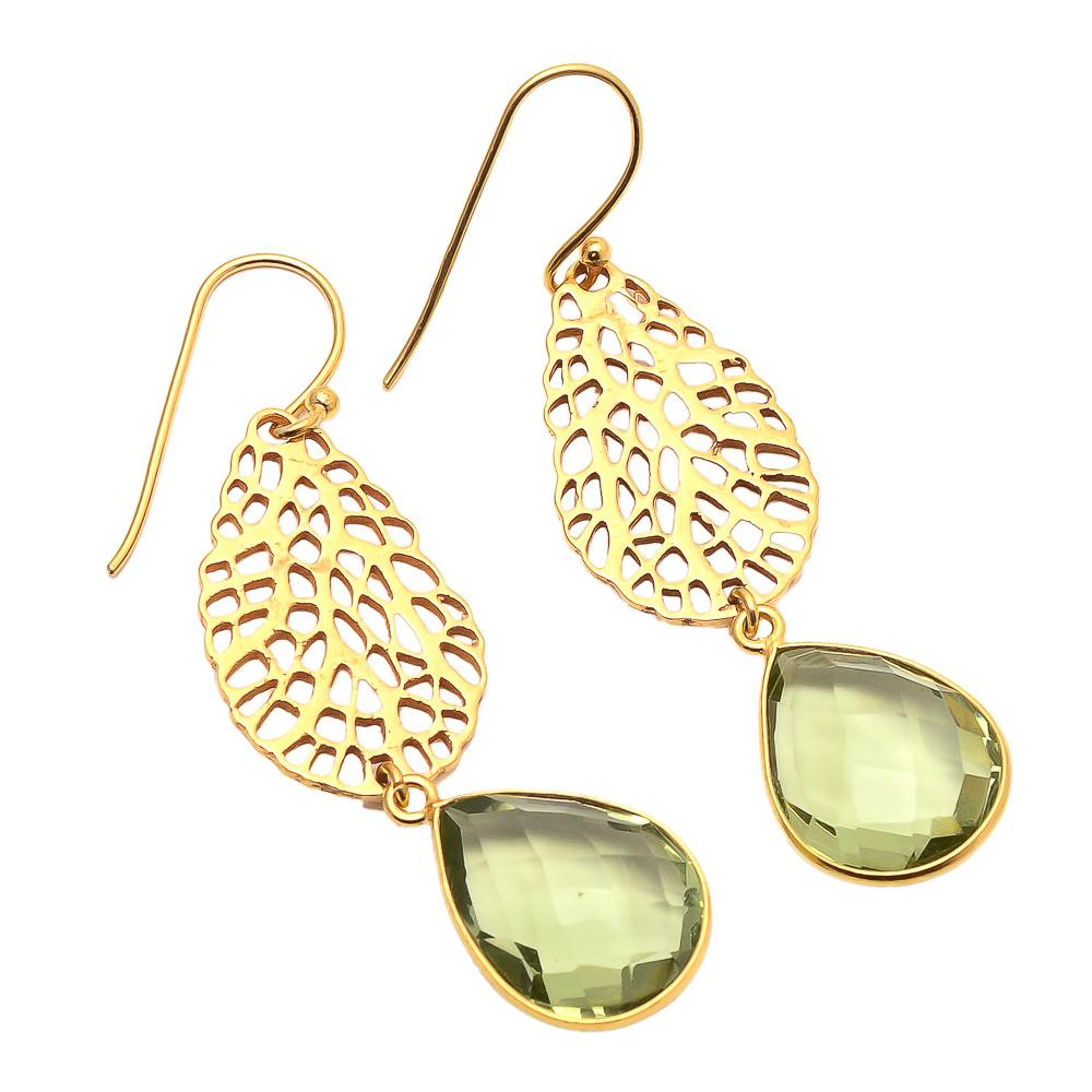 Green Amethyst gemstone Fashion Earring