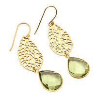 Green Amethyst gemstone Fashion Earring
