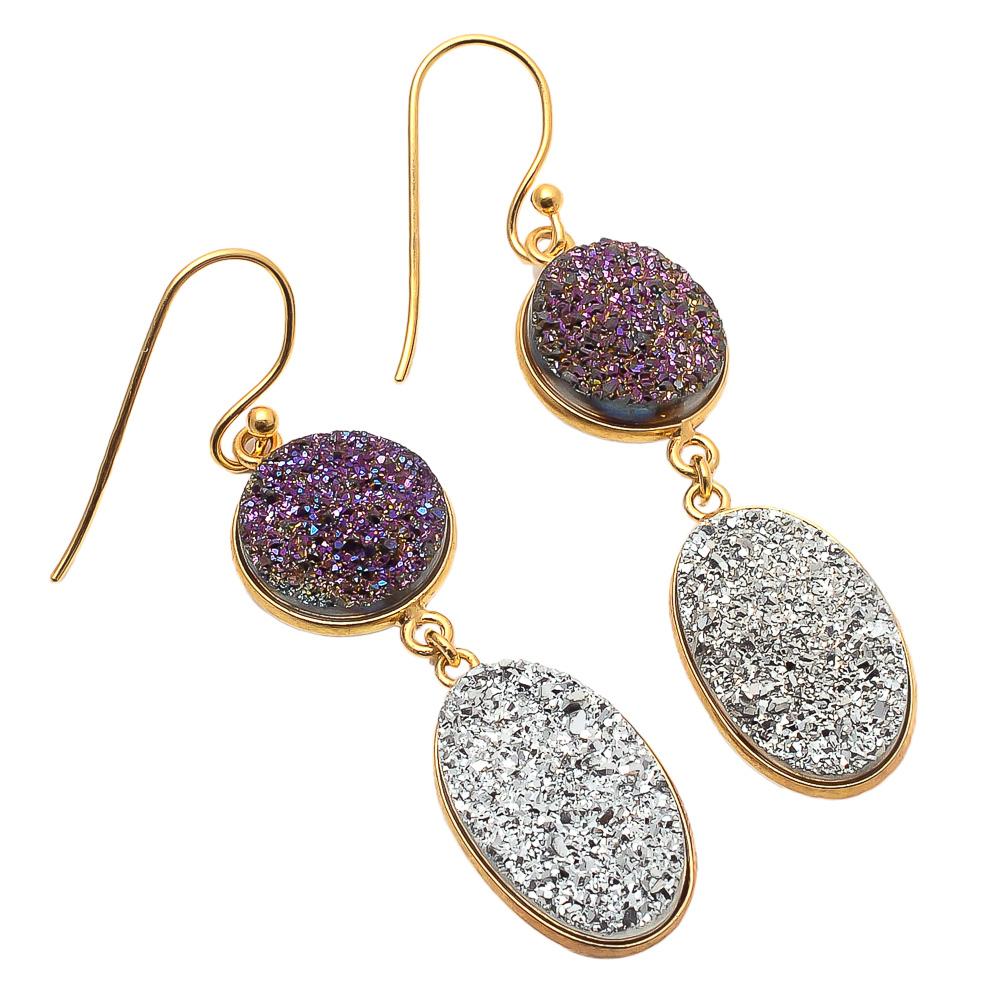 Silver Druzy & Purple Druzy Gemstone Earring