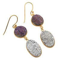 Silver Druzy & Purple Druzy Gemstone Earring
