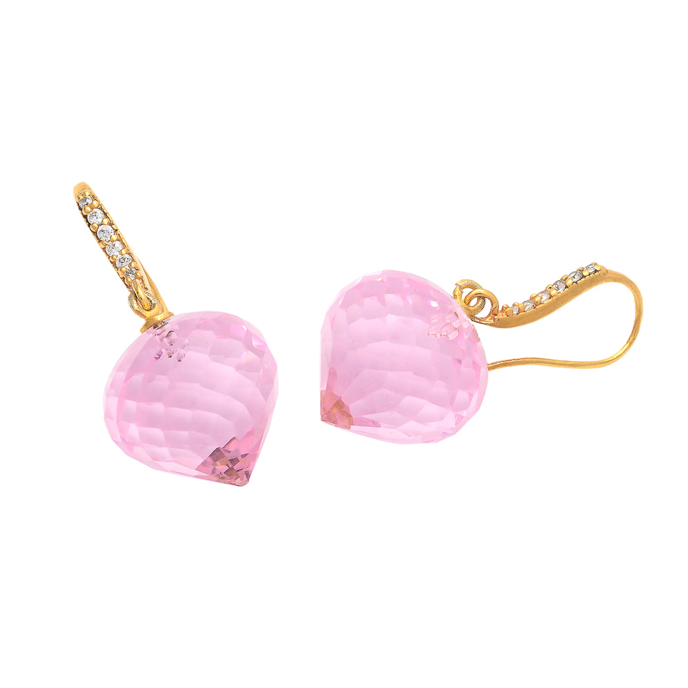 Pink Quartz With Zircon Gemstone Earring