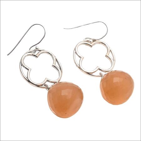 Peach Chalcedony Gemstone Designer Earring