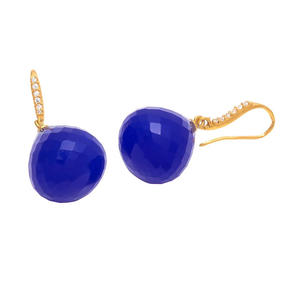 Blue Chalcedony With Zircon Gemstone Earring