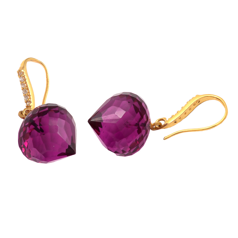Pink tourmaline Quartz With Zircon Gemstone Earring