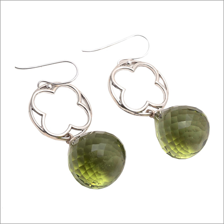 Green Amethyst Gemstone New Design Earring
