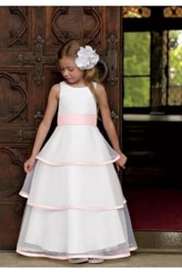 A-Line Dress in Satin & Organza With Ribbon