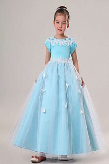 Floor Length Satin Tulle Blue Flower Girl Dress with Short Sleeves and Embroidery