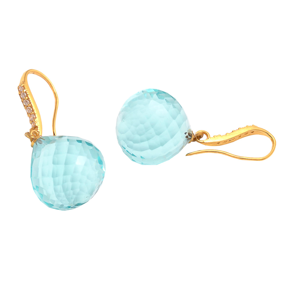 Blue Topaz With zircon Gemstone Earring