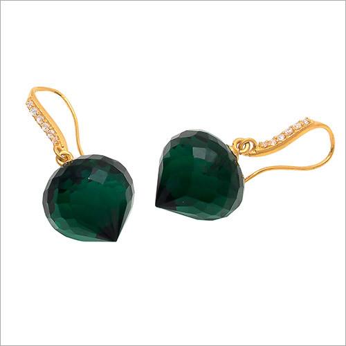 Green Tourmaline Quartz With Zircon Gemstone Earring