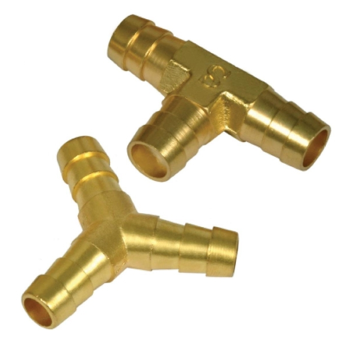 Brass Three Way Barb T & Y