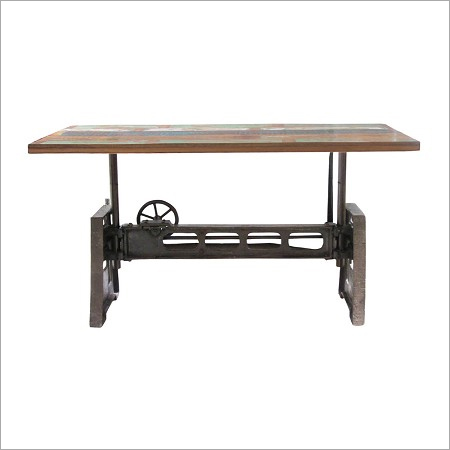 Wood and Iron Adjustable Dining Table