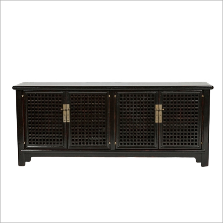 Black Lacquer Lattice Sideboard