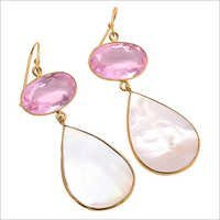 Shell & Pink Quartz Gemstone Earring