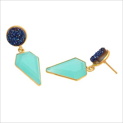 Aqua Chalcedony & Blue Druzy Gemstone Earring