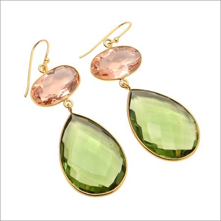 Green Amethyst & Champagne Quartz Gemstone Earring