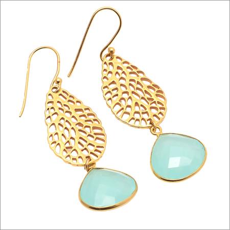 Aqua Chalcedony Gemstone Designer Earring