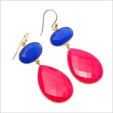 Fuchsia & Blue Chalcedony Gemstone Earring