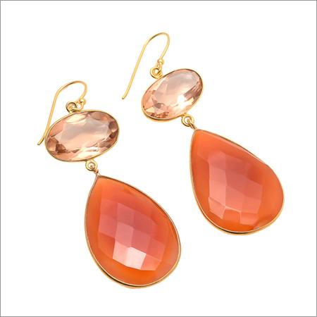 Carnelian & Champagne Quartz Gemstone Earring