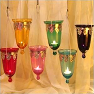 Glass T Light Hanging